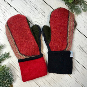 recycled wool mitts red stripe, dark olive green, charcoal grey, red and black cuffs