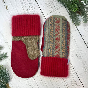 recycled wool mitts speckled brown, red, green, blue, yellow, stripe, red cashmere cuffs