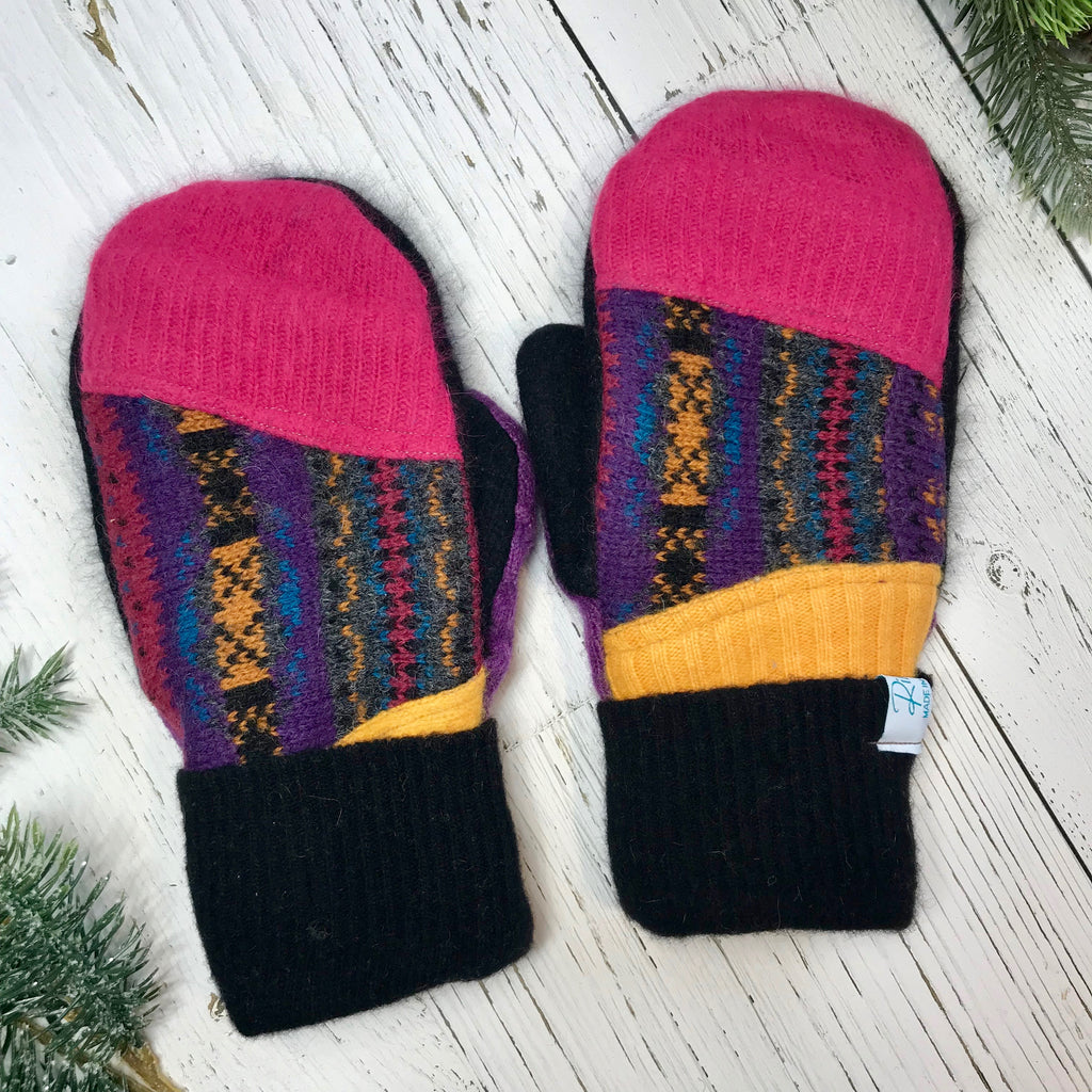 recycled wool mitts Patchwork hot pink, purple, black, blue, yellow
