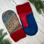 recycled wool mitts green, red, blue, pattern tops, cashmere cuffs