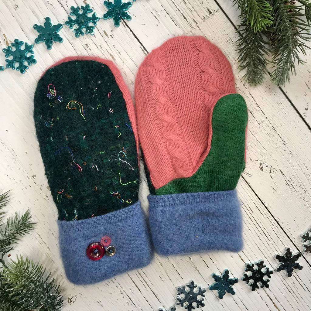*Holiday Collection* recycled wool mitts dark green confetti, coral pink, grass green, baby blue, multiple buttons