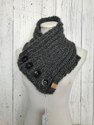 Classic Knit Button Cowl in grey and black Calvin Klein buttons