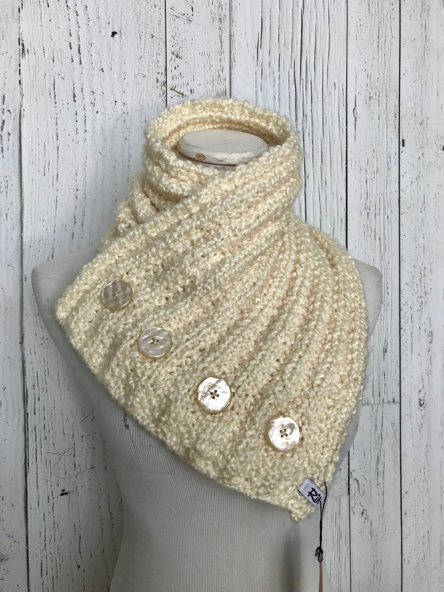 Classic Knit Button Cowl in Cream with shell buttons