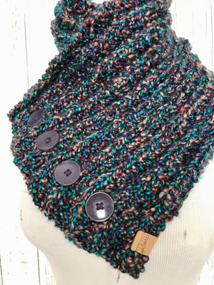 Classic Knit Button Cowl in speckled dark teal, purple, rust, and brown with purple buttons