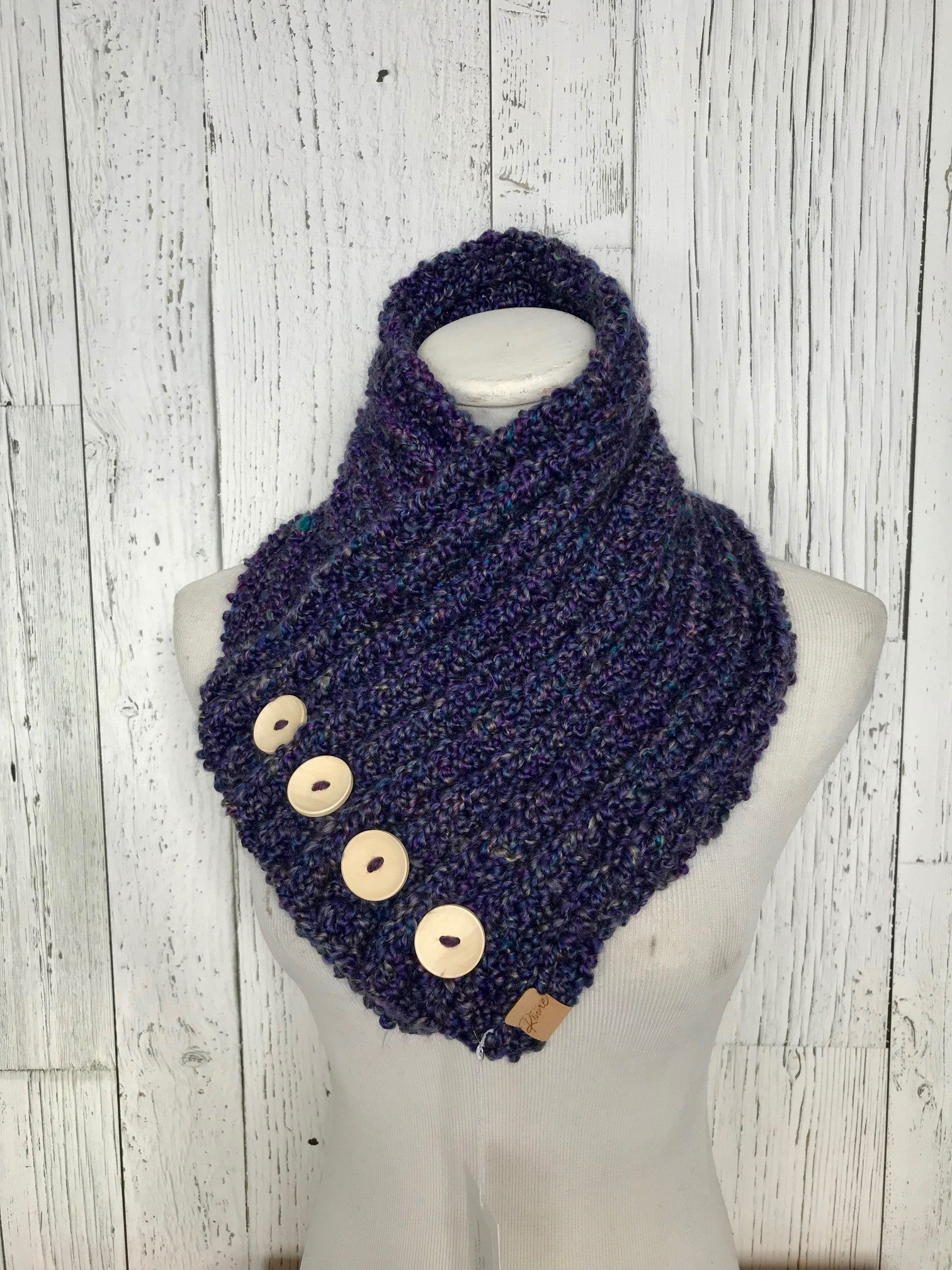 Classic Knit Button Cowl in violet purple with specks of blue with natural wood buttons