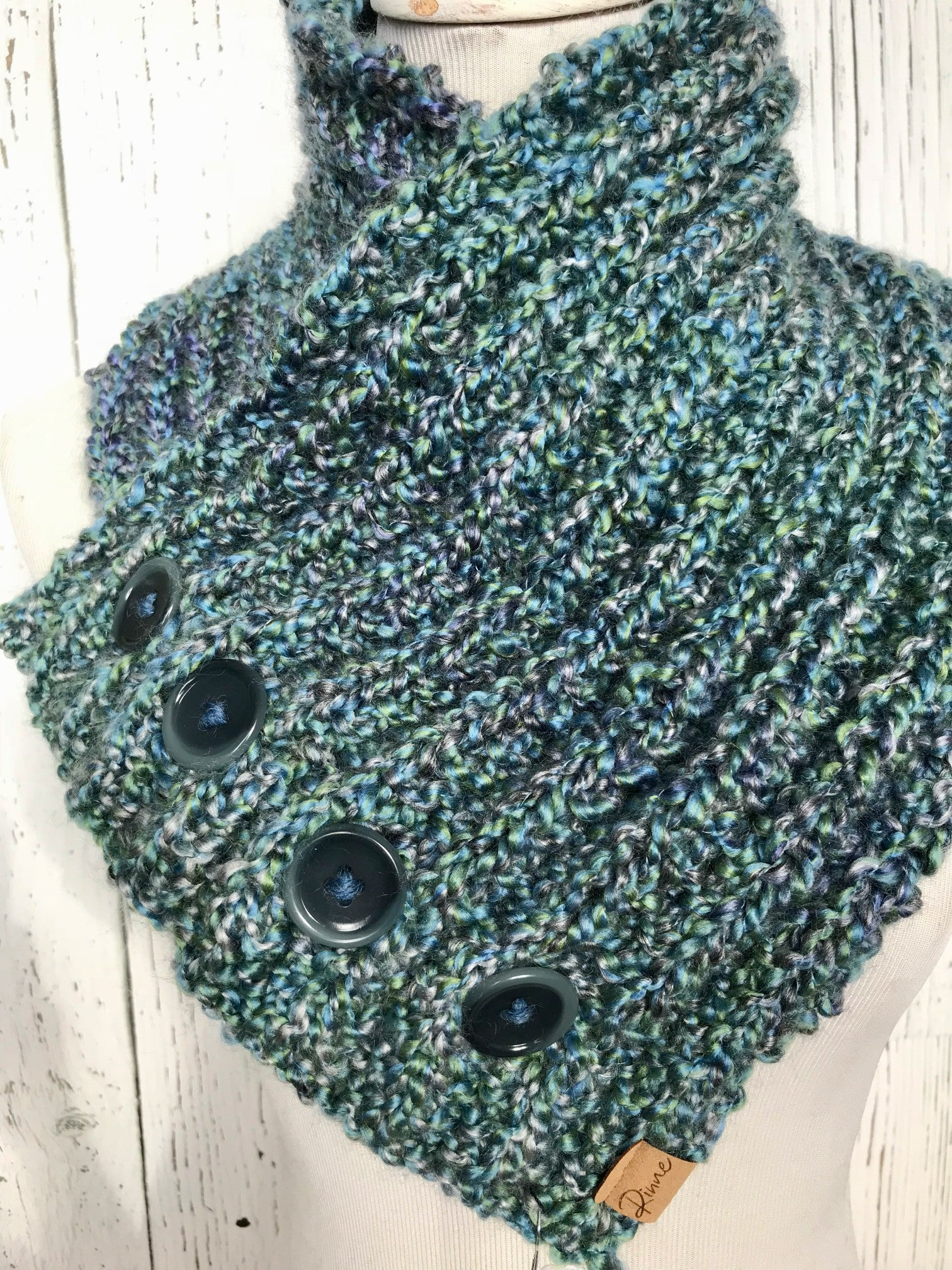 Classic Knit Button Cowl in blues and greens with dark teal buttons