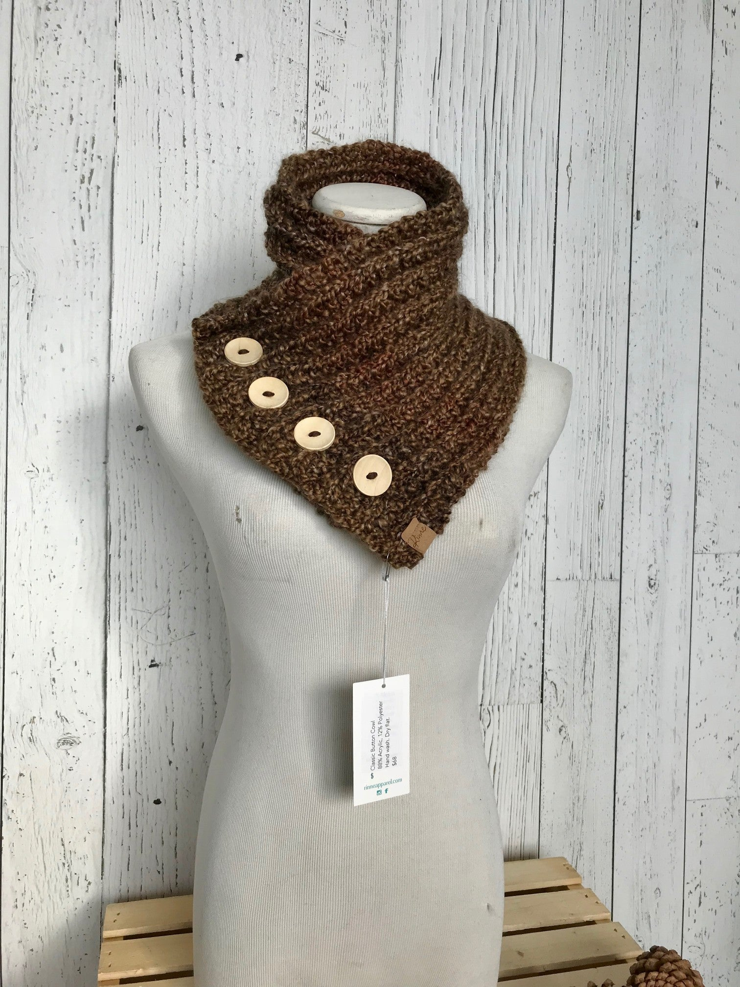 Classic Knit Button Cowl in Brown with natural wood buttons