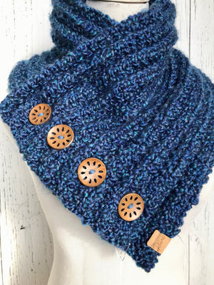 Classic Knit Button Cowl in Blue with walnut coloured wood buttons