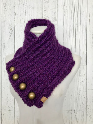 Classic Knit Button Cowl in deep purple plum with gold round buttons