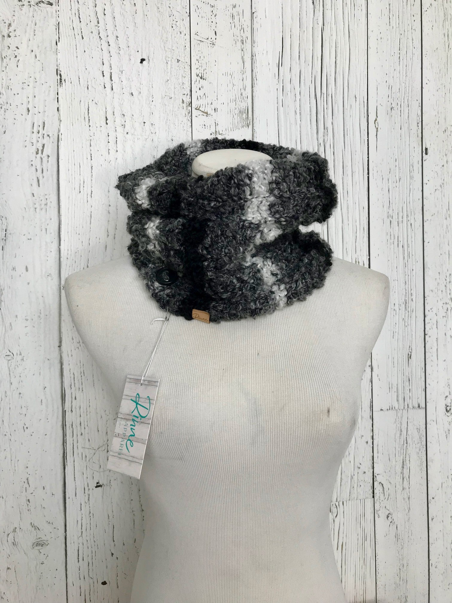 Knit Button Cowl in black, grey, and white stripes