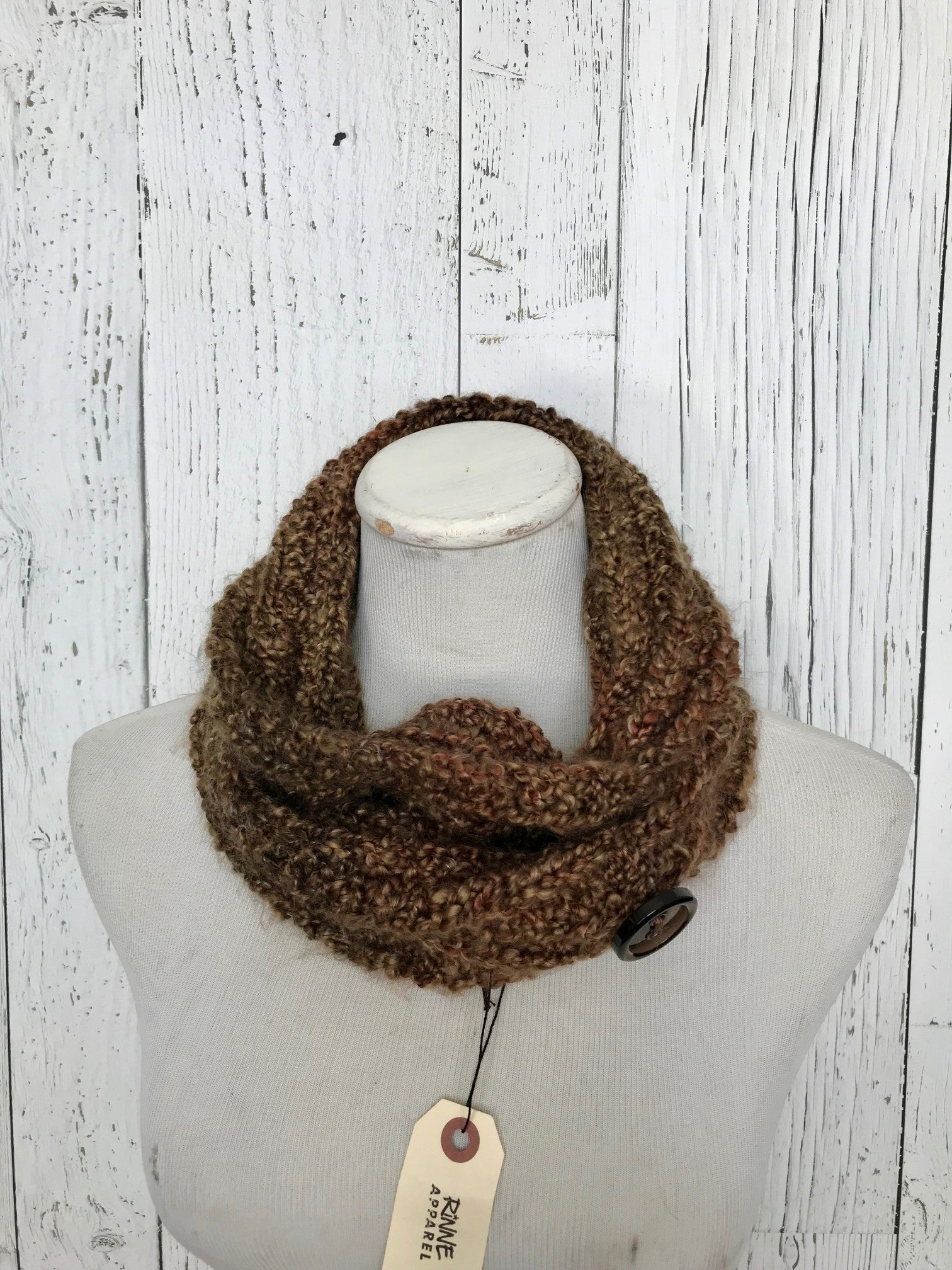 Knit Button Cowl in brown with vintage buttons