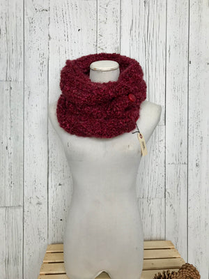 Knit Button Cowl in ruby red with plastic vintage buttons