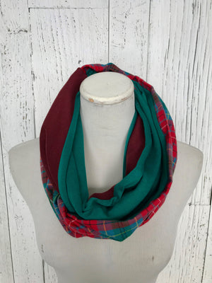 teal, burgundy red, British Columbia plaid tartan infinity scarf