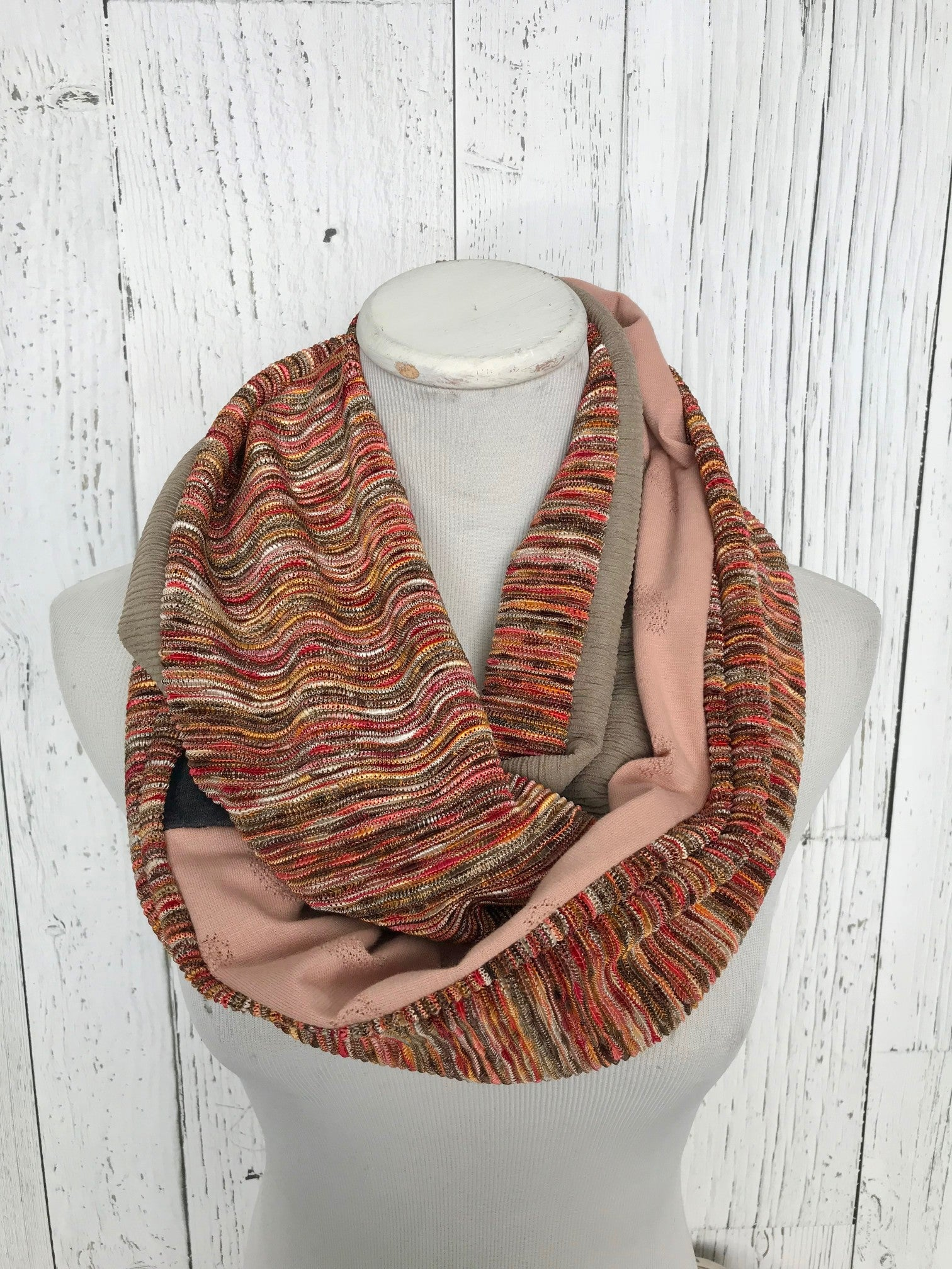 variegated orange textured knit, peach and dusty olive green infinity scarf