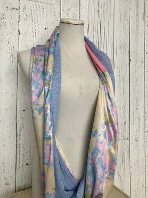 vintage floral with blue and pink infinity scarf