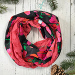 coral pink lace with black vintage floral infinity scarf