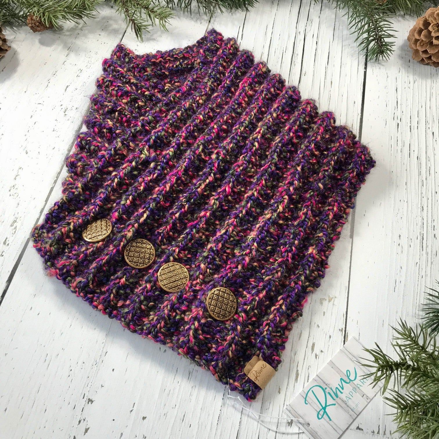 Classic Knit Button Cowl in pink, purple, olive green, and yellow with vintage gold buttons