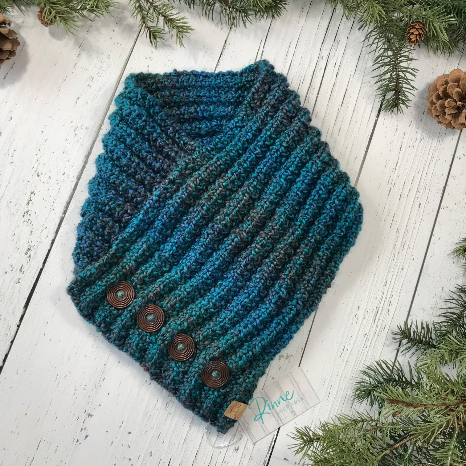 Classic Knit Button Cowl in lagoon, shades of dark teal and navy, dark wooden ridged buttons