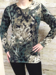 green and brown animal print long sleeved top