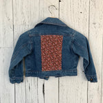 kids medium brown floral Upcycled Denim Jacket