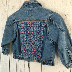kids medium vintage floral Upcycled Denim Jacket