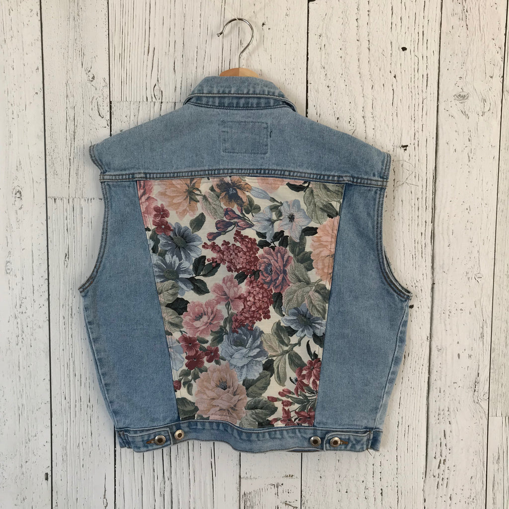 women's large floral print Upcycled Denim Jacket vest