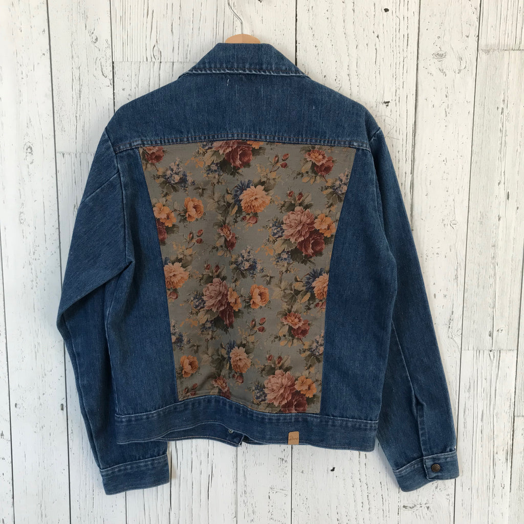 women's large floral print Upcycled Denim Jacket