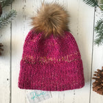 heathered pink faux fur Pom Pom Toque