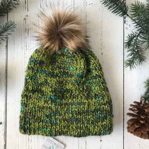 teal blue, lime green, forest greens faux fur Pom Pom Toque