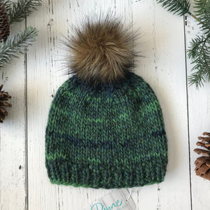 blues and greens faux fur Pom Pom Toque