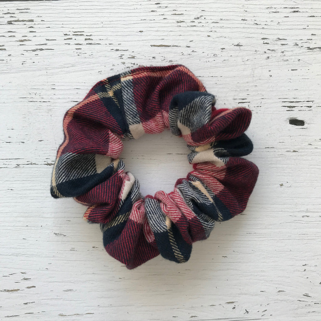 red and navy plaid cotton Scrunchie