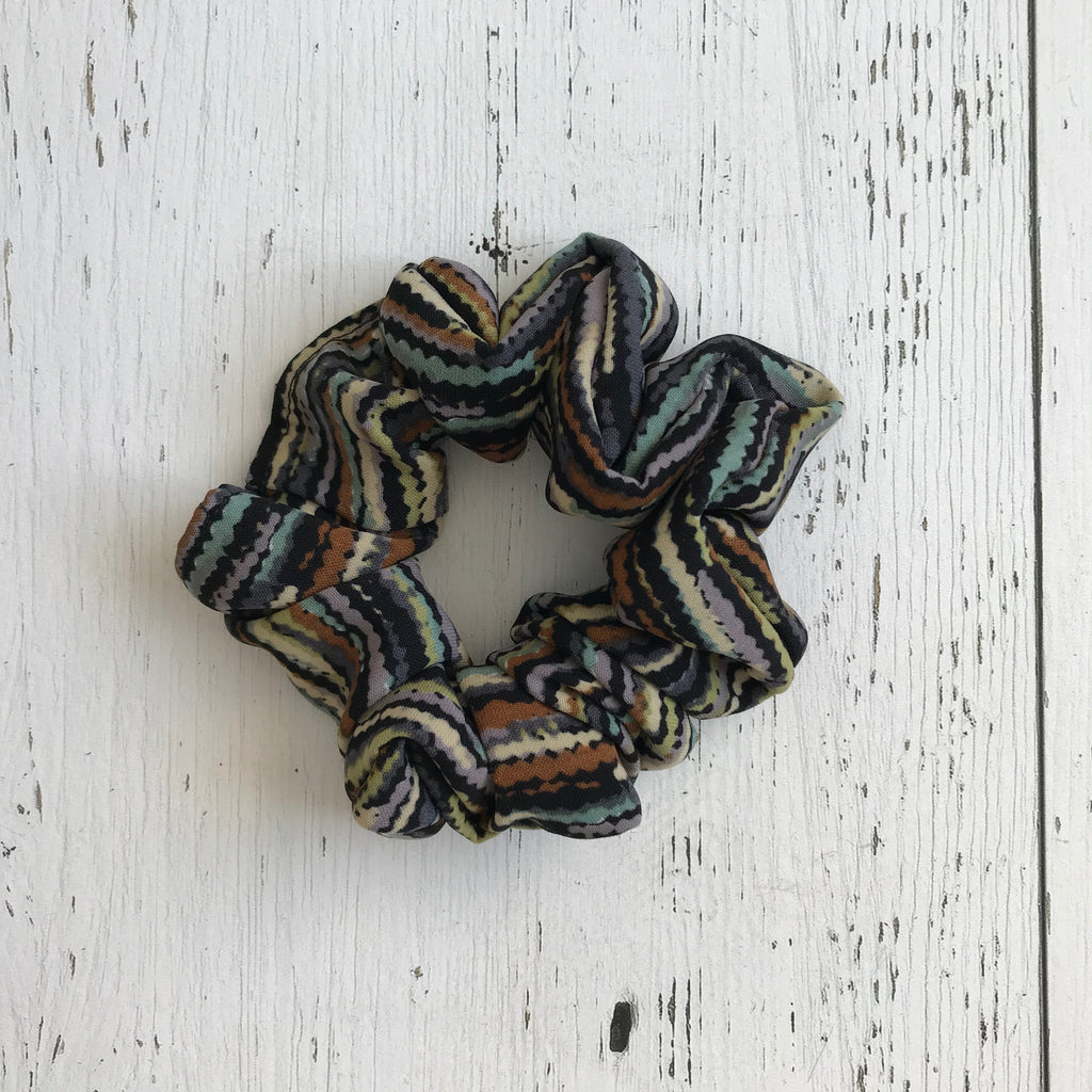black cream, brown, mauve, mint, lime striped polyester Scrunchie