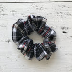 black and white plaid with red cotton Scrunchie