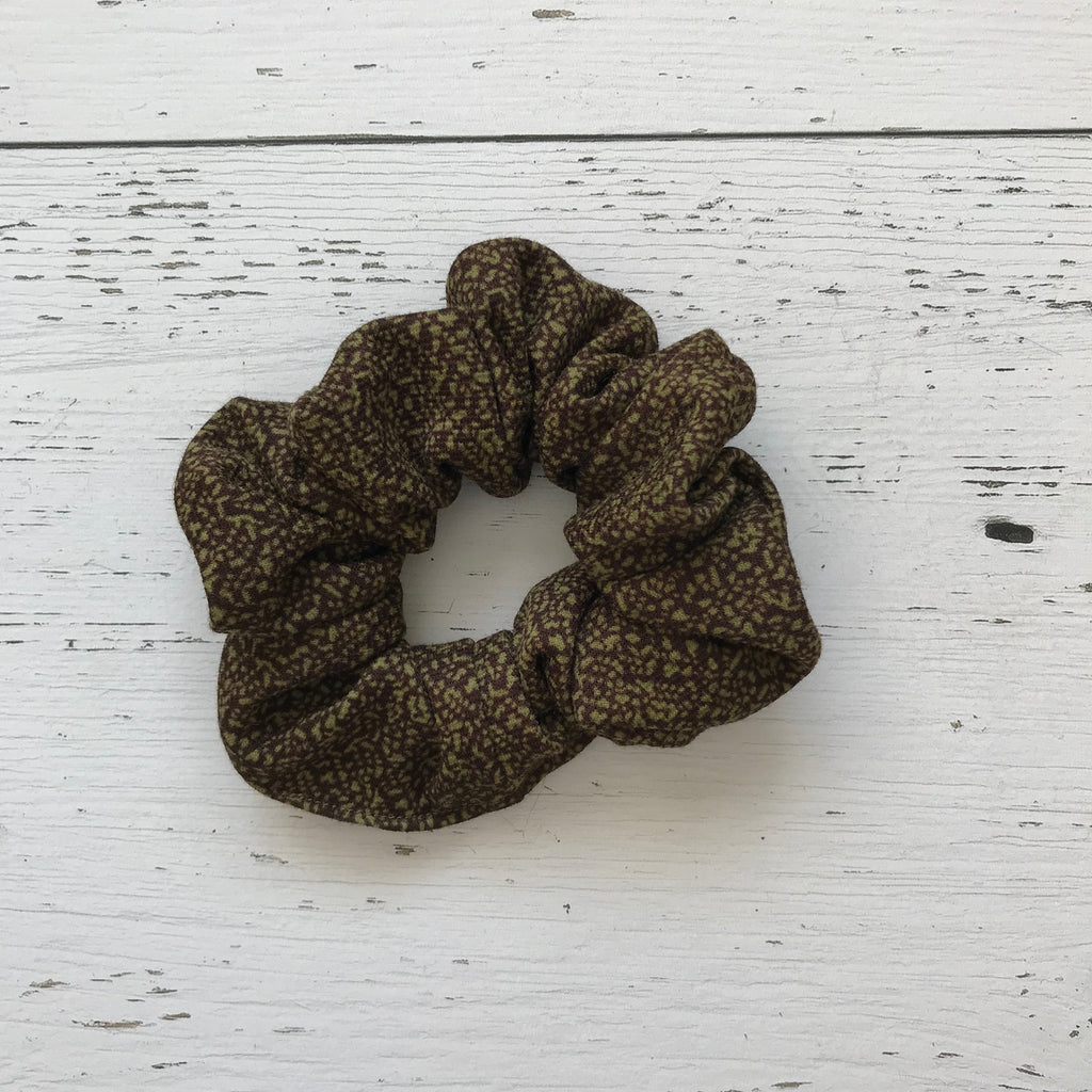 olive green print polyester Scrunchie