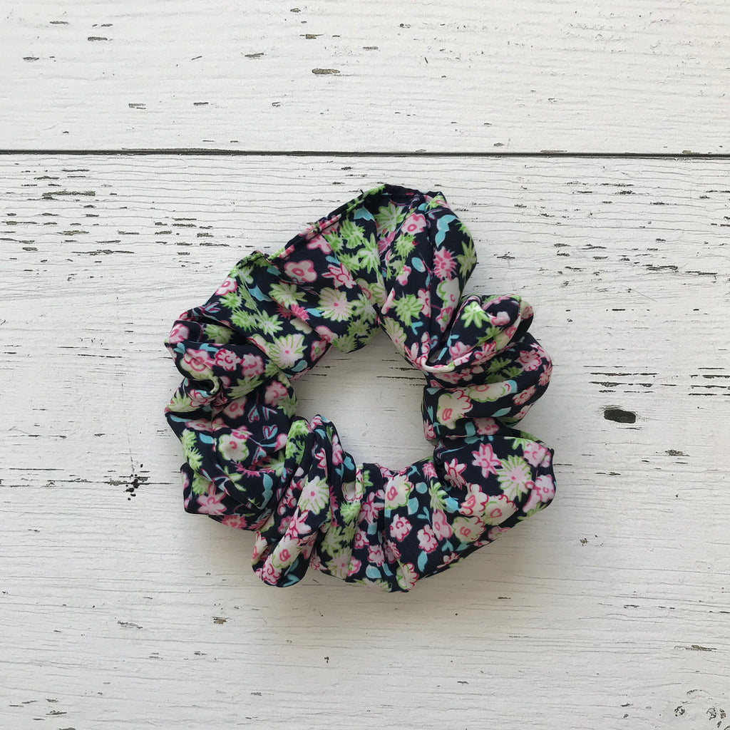 navy, lime green, bright pink floral print polyester Scrunchie