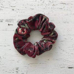 Burgundy red floral print velvet Scrunchie
