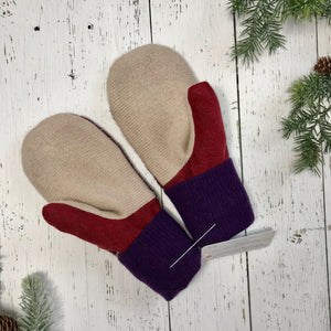 recycled wool mitts wine red, creamy brown, burgundy with cream stripes, royal purple cuffs
