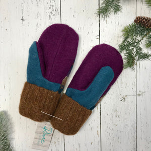 recycled wool mitts creamy brown, violet purple, olive green, cinnamon brown cuffs