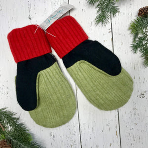 recycled wool mitts heathered black and white, stripes, red, olive green, black and pear green thumbs, bright red cuffs