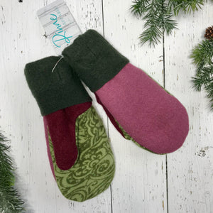 recycled wool mitts lime green paisley, hunter green, dusty pink, wine, dark olive green cuffs