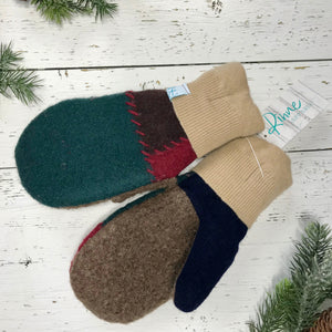 cocoa brown and navy thumbs, sand brown cuffs, green, brown, red recycled wool mitts