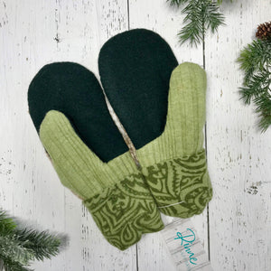 recycled wool mitts lime green paisley cuffs, lime and hunter green thumbs, speckled brown and cream