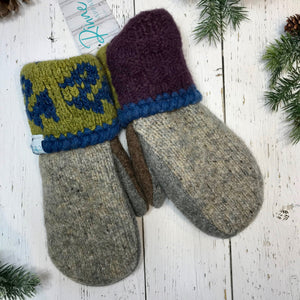 heathered grey, cocoa brown and grey thumbs, lime, blue and purple recycled wool mitts