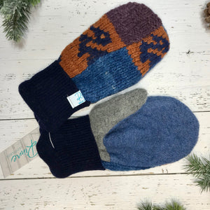 denim blue and grey thumbs, navy cuffs, rusty orange, purple, blue patterned recycled wool mitts