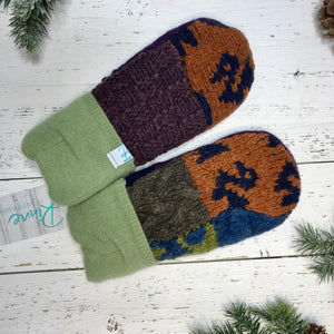 dark royal purple, navy, rusty orange, forest green, denim blue, lime green recycled wool mitts