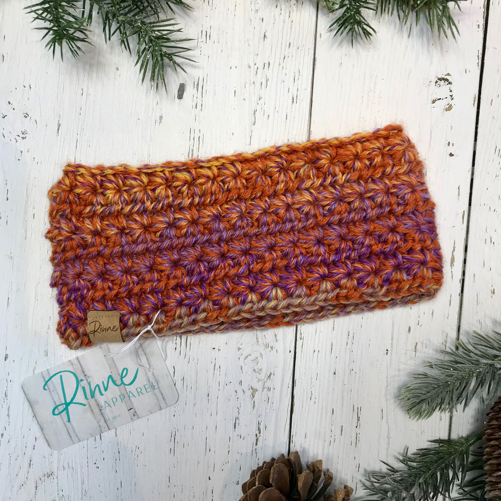 sunset orange, yellow, lavender purple Star Headband SALE