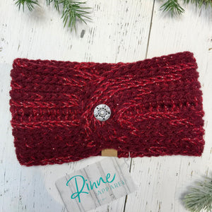 wine red with silver metallic flower button Twist Headband SALE