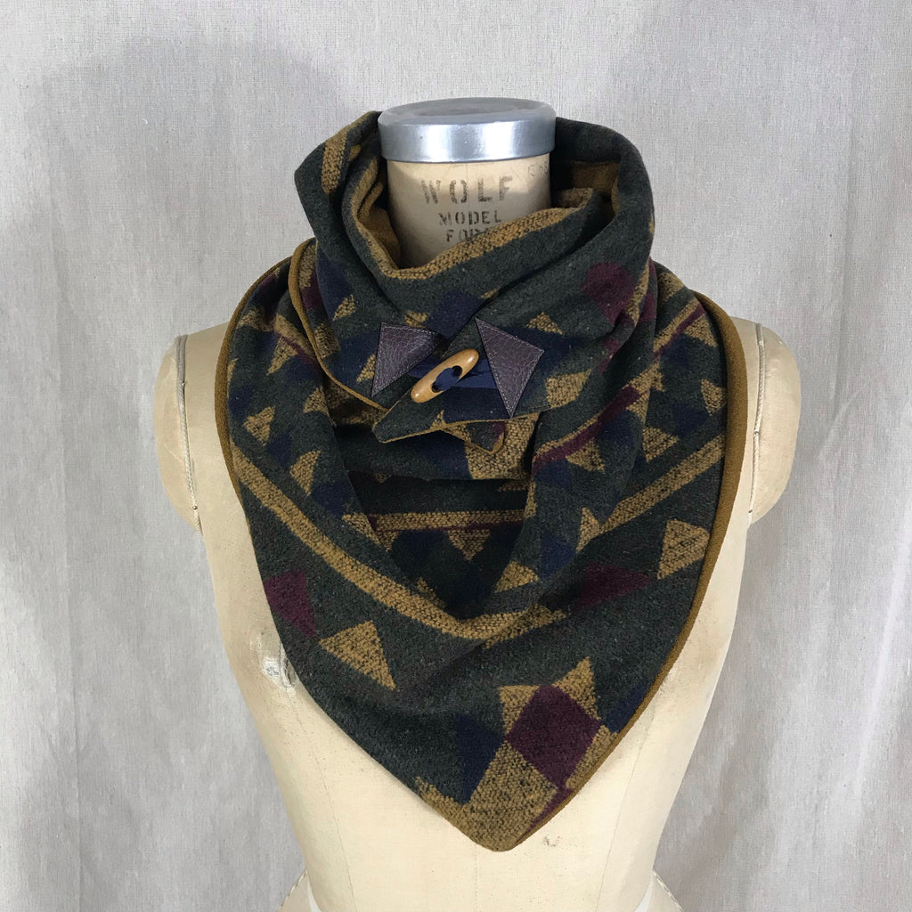 Small olive green, mustard, navy, wine Aztec print with mustard lining Triangle wrap scarf