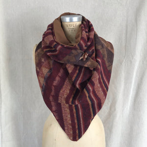 Large burgundy, browns Triangle wrap scarf