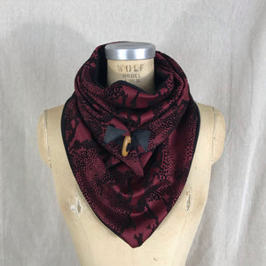 Small burgundy knit with black velvet animal print Triangle wrap scarf